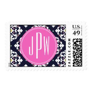 Ikat y monograma rosado sello