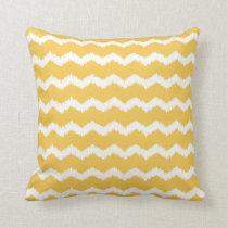 Ikat Zigzag Pattern Yellow Throw Pillow