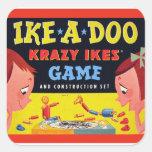 Ike-A-Doo de Krazy Ike retro del juguete del kitsc Calcomanías Cuadradas Personalizadas