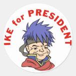 Ike para el presidente etiquetas redondas