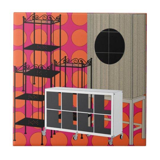 Ikea Furniture Shelves Orange Tile