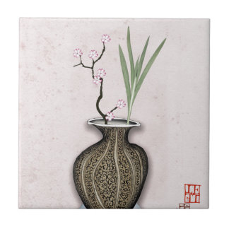 Ikebana 2 by tony fernandes ceramic tile