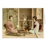 Ikebana - Beautiful Kimono Girls Arranging Flowers Stationery Note Card