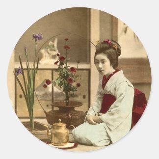 Ikebana - Beautiful Kimono Girls Arranging Flowers Sticker