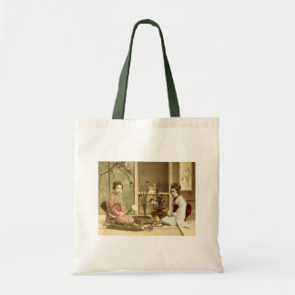 Ikebana - Beautiful Kimono Girls Arranging Flowers Tote Bag