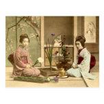 Ikebana - chicas hermosos del kimono que arreglan  postal