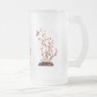 Ikebana display frosted glass beer mug