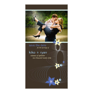 Ikebana Frangipani Blue Tropical Flower Wedding Photo Cards