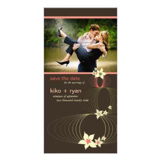 Ikebana Frangipani Pink Tropical Flower Wedding Photo Card
