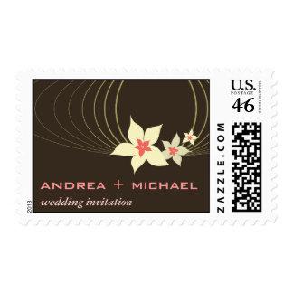 Ikebana Frangipani Pink Tropical Flower Wedding Postage Stamp