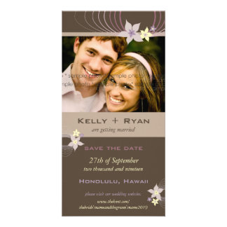 Ikebana Frangipani Purple Tropical Flowers Wedding Photo Card
