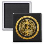 Ikko Ikki Mon Japanese clan gold on black 2 Inch Square Magnet