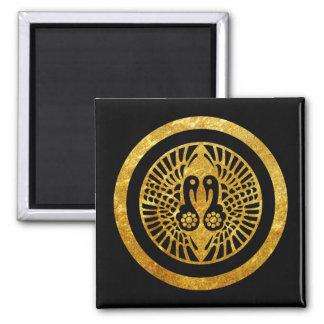 Ikko Ikki Mon Japanese clan gold on black Magnet