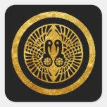 Ikko Ikki Mon Japanese clan gold on black Square Sticker