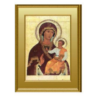Ikon del Virgen María y del niño Jesús Tarjetas Postales