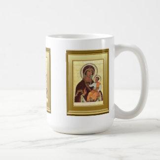 Ikon del Virgen María y del niño Jesús Taza