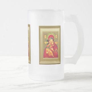 Ikon del Virgen María y del niño Jesús Taza De Cristal