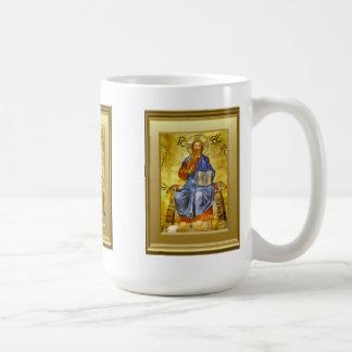 Ikon of Christ with a gospel book,  Orthodox Classic White Coffee Mug