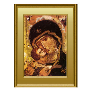 Ikon of the Virgin Mary and the child Jesus Postcards