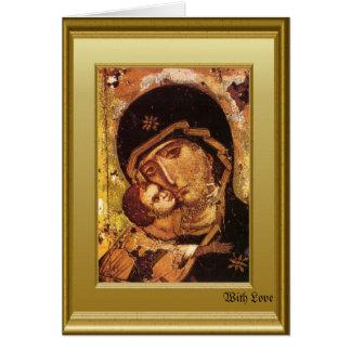 Ikon ortodoxo del Virgen María y del JES del niño Tarjeta De Felicitación