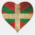 Ikurriña antigua pegatina en forma de corazón