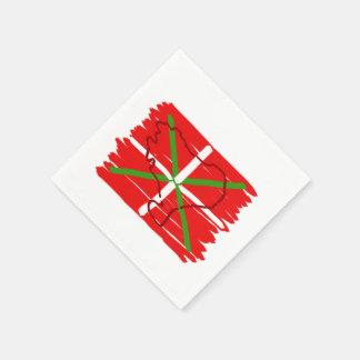 Ikurriña pintado con el esquema del país vasco, servilleta desechable