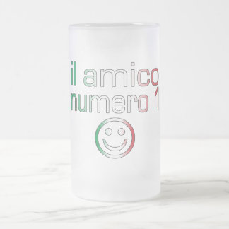 Il Amico Numero 1 in Italian Flag Colors for Boys Frosted Glass Beer Mug