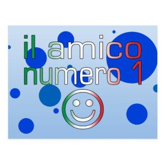 Il Amico Numero 1 in Italian Flag Colors for Boys Postcard