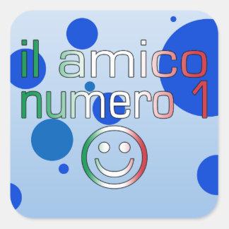 Il Amico Numero 1 in Italian Flag Colors for Boys Square Sticker
