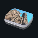 """Il Duomo di Firenze Jelly Belly Candy Tin<br><div class=""""desc"""">Basilica di Santa Maria del Fiore (Saint Mary of the Flower) is the main cathedral of Florence, Italy. Built between 1296-1436, is located in Piazza del Duomo being part of the same architectural complex as Giotto&#39;s Campanile and the Battistero di San Giovanni. The basilica is one of the largest churches...</div>"""
