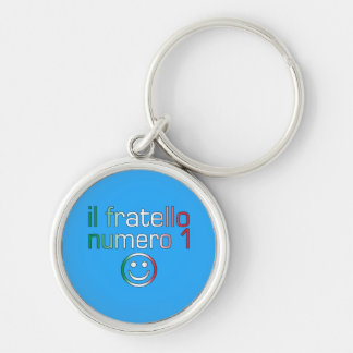 Il Fratello Numero 1 - Number 1 Brother in Italian Silver-Colored Round Keychain