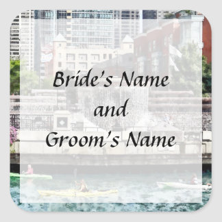 IL - Kayaking on the Chicago River Save the Date Square Sticker