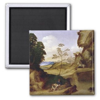 Il Tramonto (The Sunset) (oil on canvas) 2 Inch Square Magnet