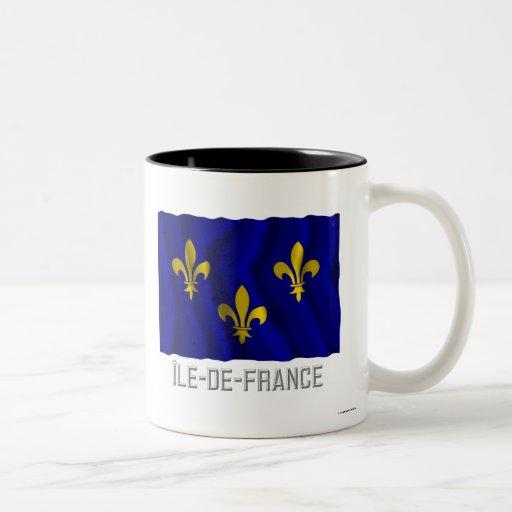 Île-de-France waving flag with name Two-Tone Coffee Mug