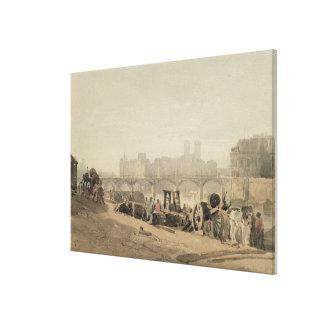 Ile de la Cite, París, (w/c en tejió el papel) Impresión En Lona Estirada