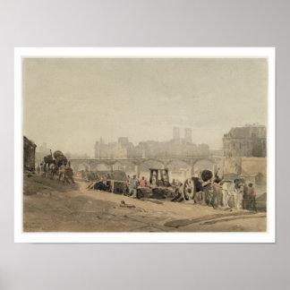 Ile de la Cite, Paris, (w/c on wove paper) Poster
