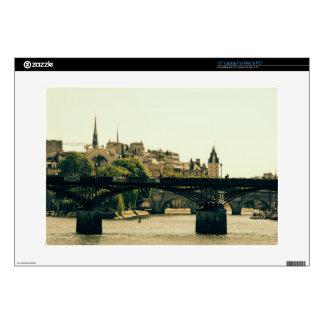 """Ile De La Cite, Pont Des Arts in Paris, France 15"""" Laptop Decal"""