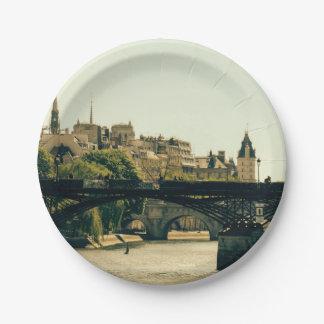 Ile De La Cite, Pont Des Arts in Paris, France Paper Plate
