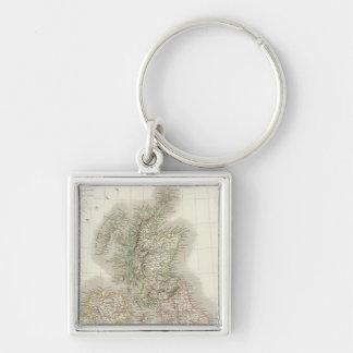 Iles Britanniques - British Isles Silver-Colored Square Keychain