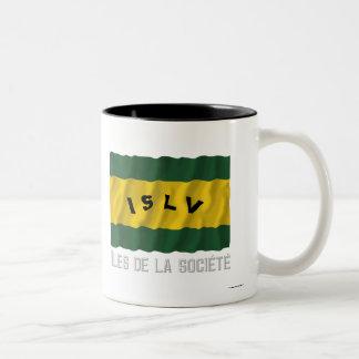 Îles de la Société waving flag with name Two-Tone Coffee Mug