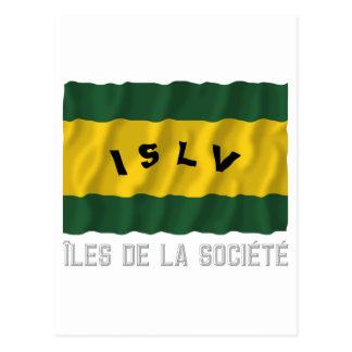 Îles de la Société waving flag with name Postcard