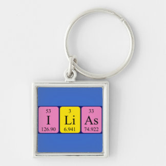 Ilias periodic table name keyring Silver-Colored square keychain