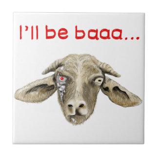 I'll be Baaa Funny Goat Art Science Fiction Design Ceramic Tile