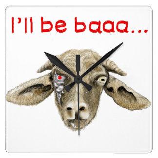 I'll be Baaa Funny Goat Art Science Fiction Design Square Wall Clock