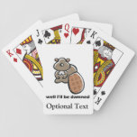 """I&#39;ll Be Damned Beaver Playing Cards<br><div class=""""desc"""">Funny animal pun design features cartoon beaver, with I&#39;ll be Damned in fun font, and can have images, text or other elements added using the customize it feature. Great gift idea for people who like beavers, animal puns or who are surprised. White background on the back of this item can...</div>"""