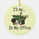I'll Be in My Office Garden Double-Sided Ceramic Round Christmas Ornament
