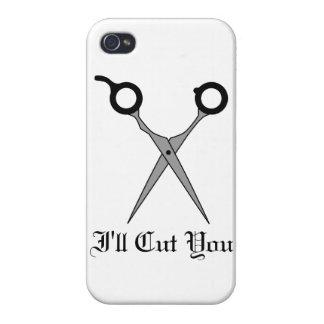 I'll Cut You (Black Hair Cutting Scissor) iPhone 4 Covers