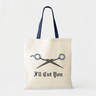I'll Cut You (Blue Hair Cutting Scissors) Budget Tote Bag