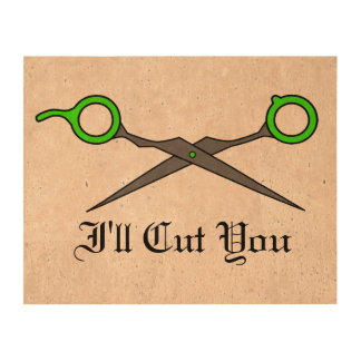 I'll Cut You (Lime Green Hair Cutting Scissors) Cork Paper