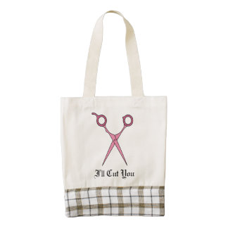 I'll Cut You (Pink Hair Cutting Scissors) Zazzle HEART Tote Bag